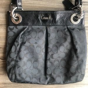 Black Coach Tote Purse With Authentic C Pattern